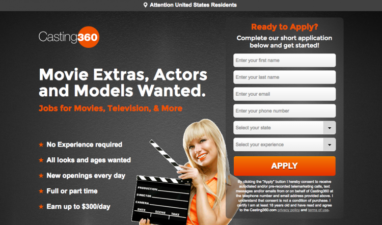 Casting360 Landing Page