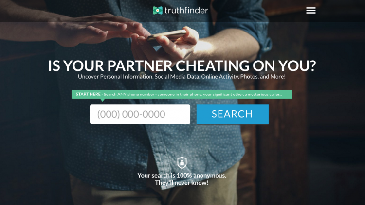 TruthFinder Phone Lookup's landing page.