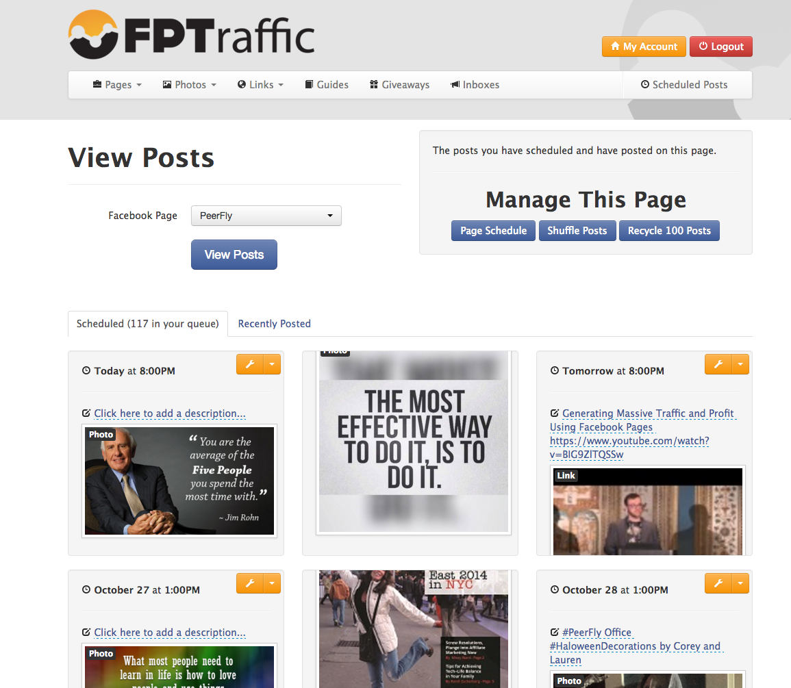 FPTraffic's page scheduler