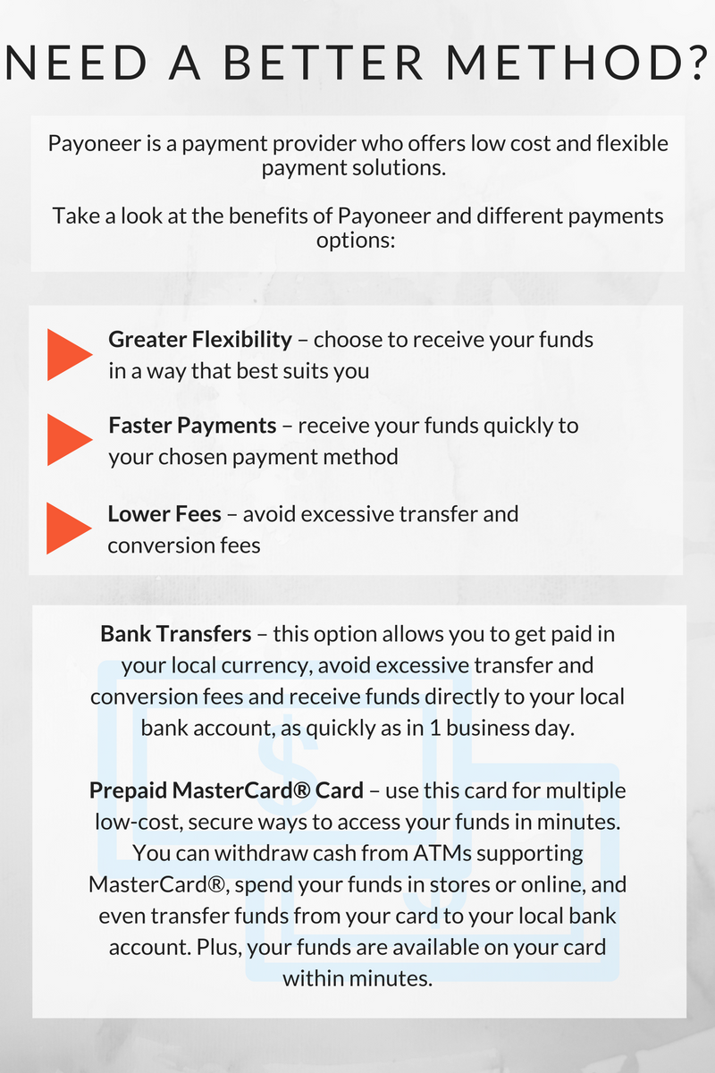 An explanation of the benefits of Payoneer.