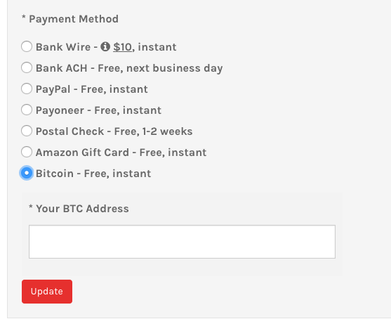 Selecting Bitcoin as PeerFly Payment Method